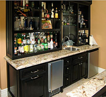 Wet Bars on cabinets around refrigerator ideas