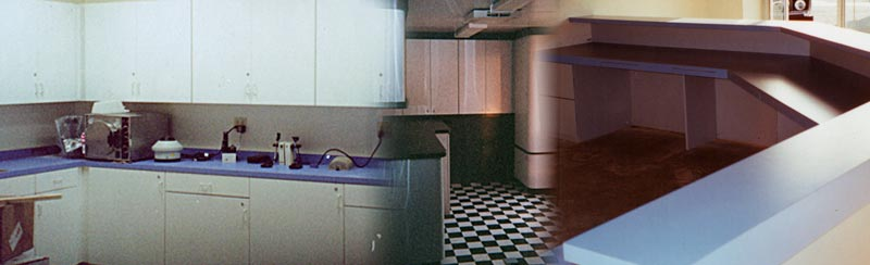 formica counter tops, medical office cabinets