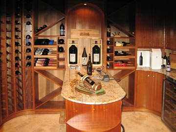 wine racks, circular, custom wood