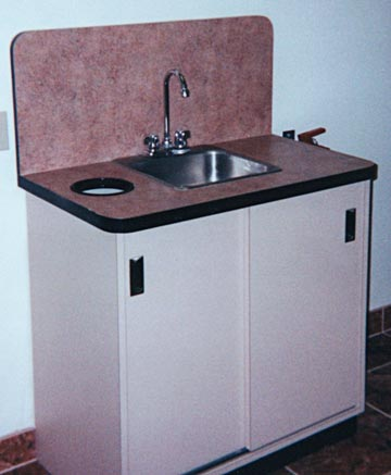 medical office, garage storage and formica cabinets & counter tops