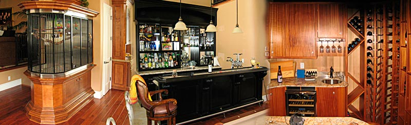 custom cabinets, bird cage, bar, wine racks