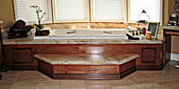 custom cabinets, spa, tub